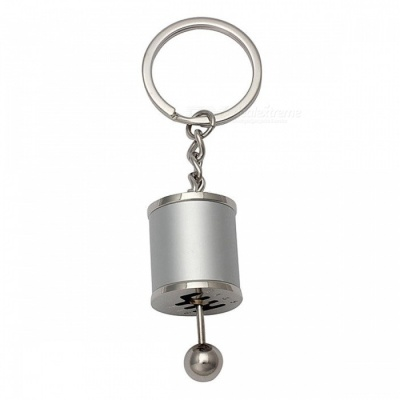 P-TOP Zinc Alloy Key Chain with Emulational Manual 6-Speed Transmission Gear Lever Pendant - Silver