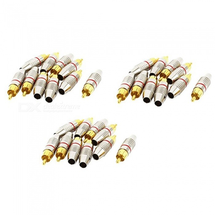 ZHAOYAO Metal Household RCA Male Audio Coaxial Cable Solderless Connector Adapter (30 PCS)DIY Parts &amp; Components<br>Form  ColorGolden + Silver (30 PCS)Quantity1 setMaterialMetalEnglish Manual / SpecNoCertification-Packing List30 x RCA Plug connectors<br>