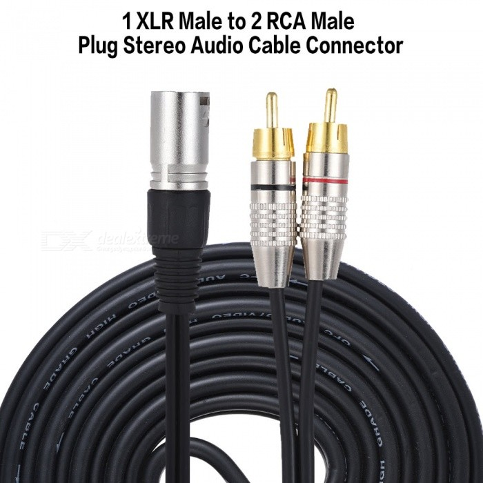 1 xlr male to 2 rca male plug stereo audio cable connection cable - 2m
