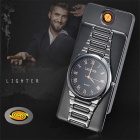 ZHAOYAO Multifunctional Ultra Thin Slim Watch, Windproof USB Rechargeable Electronic Cigarette Lighter - Black