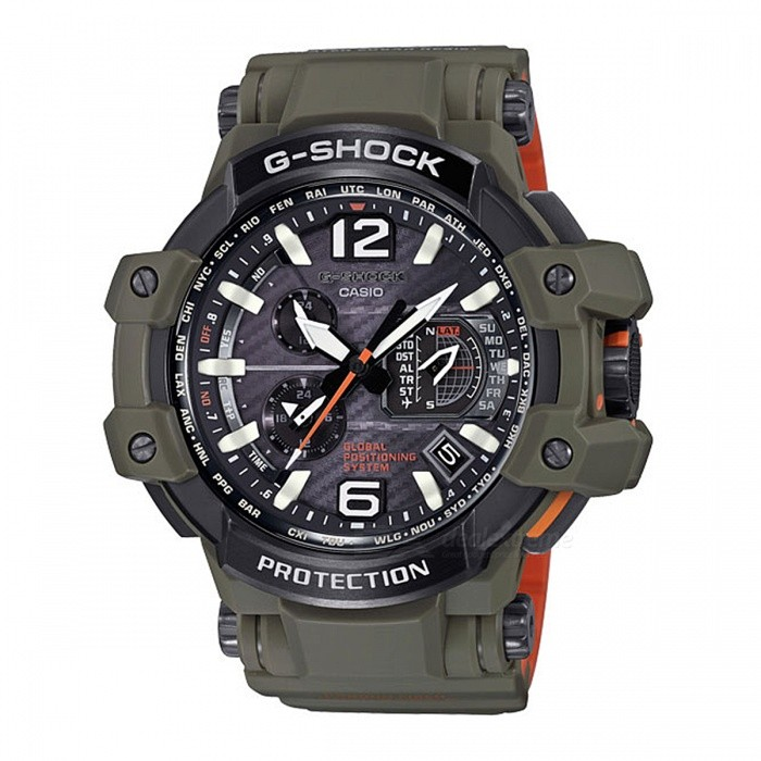Casio G-Shock GPW-1000KH-3A Solar Powered 200-Meter Water Resistance Aviation Series Mens' Sport Watch - Green + Black