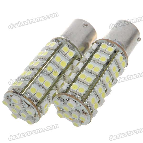 1156 3.5W 68-SMD LED 310-Lumen 6500K Brake/Backup White Light Bulbs (Pair/DC 12V)