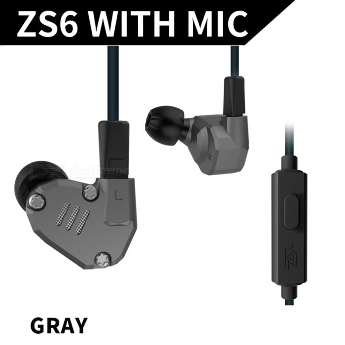 KZ ZS6 Metal 2DD+2BA Hybrid 3.5mm Wired In-Ear Earphone, HIFI DJ Monito Running Sport Earbuds Headset with Mic - Grey