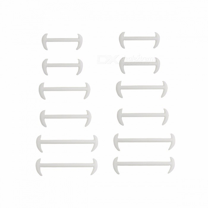 Buy Men Women Lazy No Tie Shoelaces Novelty Elastic Silicone Shoe Lace Strap Strings for Business Shoes Leather Shoes - 12PCS White with Litecoins with Free Shipping on Gipsybee.com