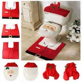 Christmas Santa Toilet Seat Cover, Toilet Paper Box Cover & Rug Set, Christmas Decoration Set