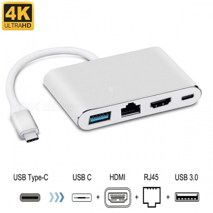 4IN1 USB C to HDMI 4K+Gigabit Ethernet +USB 3.0 USB 3.1 Type C Adapter RJ45 Port