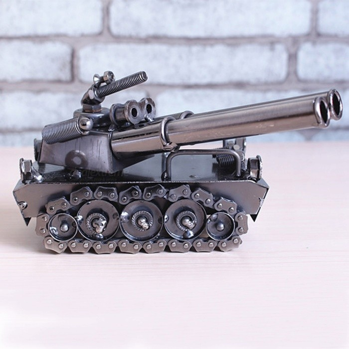 Premium High-End Metal Tank Car Model Home Ornament, Birthday GiftOther Gifts<br>Form  ColorAntique SilveryMaterialIronQuantity1 setPacking List1 x Craft tank model<br>