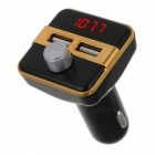 BT20B Car Bluetooth Handsfree MP3 Player FM Transmitter Kit Car Charger with Dual USB Ports - Golden + Black