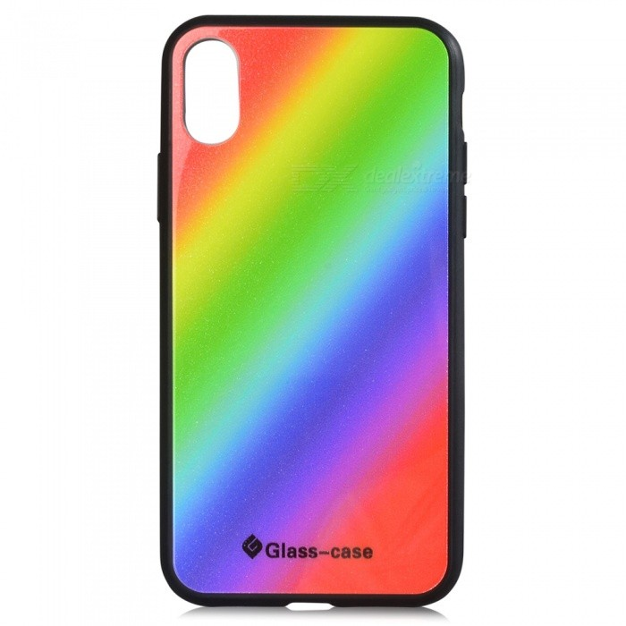 Fashion Protective TPU + Glass Back Case for IPHONE X - Black + Multi-ColoredPlastic Cases<br>Form  ColorBlack + MulticolorQuantity1 pieceMaterialTPU + GlassCompatible ModelsiPhone XDesignMixed ColorStyleBack CasesPacking List1 x Case<br>