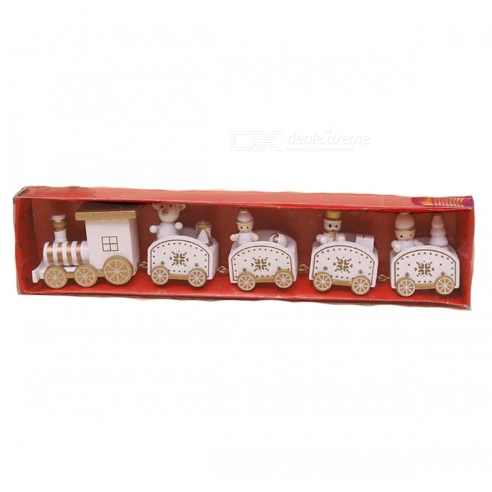P-TOP Cartoons Wooden Five Small Trains Decorations for Children, Christmas Festive Party Gifts