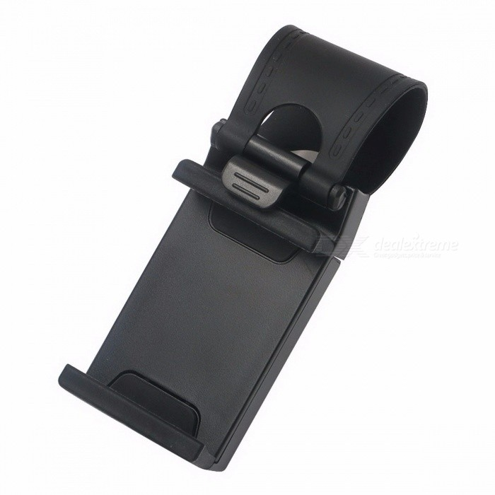 Universal Car Auto Steering Wheel Clip Mount Holder for IPHONE 8 7 7Plus 6 6s Samsung Xiaomi Mobile Phone GPS - Black