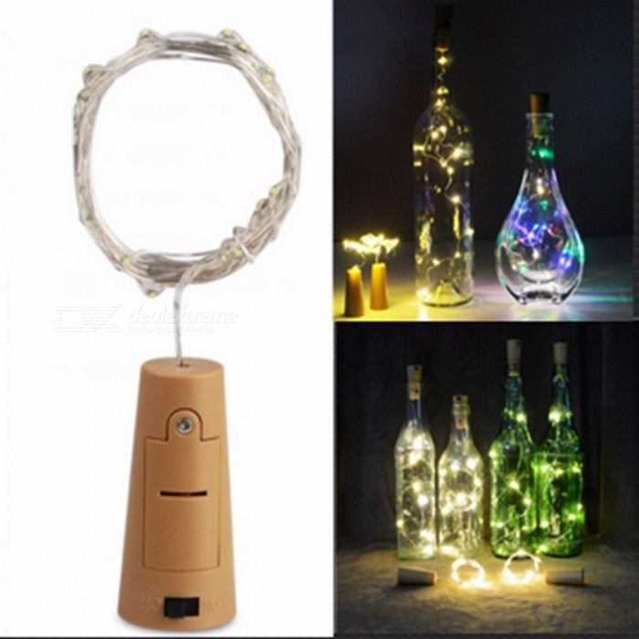 2M 20-LED Battery Powered Wine Bottle Stopper Style Light Cork Shaped String Light Christmas Holiday Decoration Lamp 6PCS/Lot