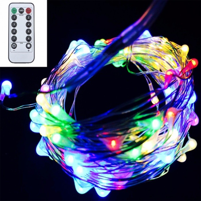 Battery Powered Flexible LED String Light with Remote Control Copper Silver Wire Waterproof Christmas Holiday Party Decoration 5m 50led/RGB