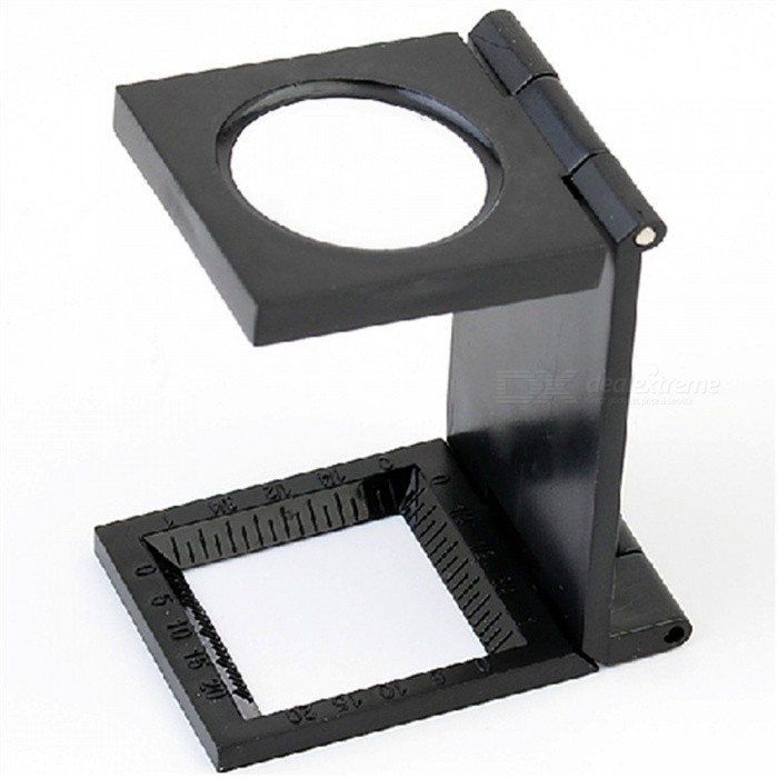 OJADE Mini Portable 10X Plastic Folding Magnifier with Scale - Black
