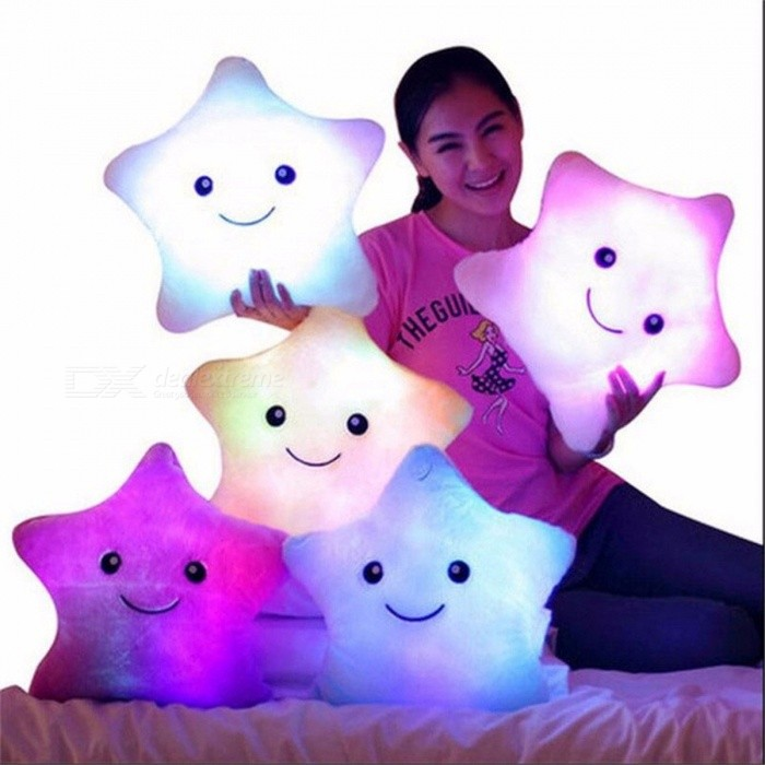 38cm LED Light Luminous Flashing Colorful Star Shaped Plush Pillow, Christmas Toy, Birthday Gift for Kids