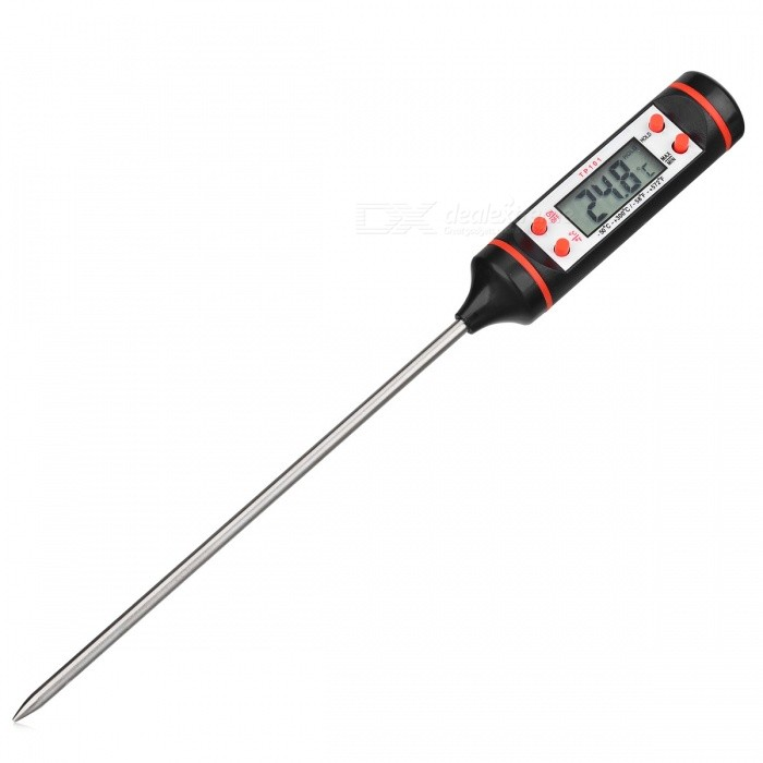 UYIGAO Portable Digital Kitchen Probe Thermometer with LCD Display for Food Cooking BBQ Meat Steak Turkey Wine - Black