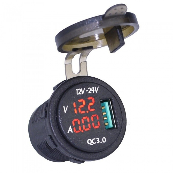 Eastor Waterproof QC 3.0 USB Charger Socket Power Outlet w/ Digital Voltmeter Ammeter Monitoring for Car Boat RV - Red LightCar Power Chargers<br>Form  ColorRed LightModelN/AQuantity1 pieceMaterialABSInput Voltage12~24 VOutput Voltage5-12 VOutput CurrentMAX 3 AInterfaceUSBApplicationCar Boat Marine Rv MotorcyclePacking List1 x Voltmeter &amp; Ammeter QC 3.0 car charger2 x Insulated Terminals<br>