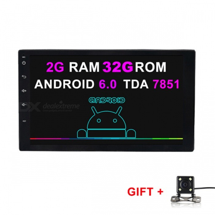 Funrover HD Quad-Core Android 6.0 Car Radio Player w/ Camera, GPS, RDS, Wi-Fi