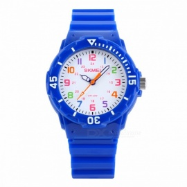 SKMEI 1043 Fashion Casual Children's Jelly Watch, 50m Waterproof Quartz Wristwatch with Clock for Kids Boys Girls Students Navy Blue