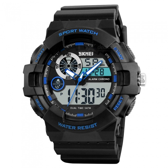 SKMEI 1312 Mens Sports Watch, Chronograph 50m Waterproof Luxury Brand Fashion Wristwatch with Alarm, Dual Time Display - BlueSport Watches<br>Form  ColorBlack + BlueModel1312Quantity1 pieceShade Of ColorBlueCasing MaterialABS and PUWristband MaterialPUSuitable forAdultsGenderMenStyleWrist WatchTypeCasual watchesDisplayAnalog + DigitalBacklightEL LightMovementDigitalDisplay Format12/24 hour time formatWater ResistantWater Resistant 5 ATM or 50 m. Suitable for swimming, white water rafting, non-snorkeling water related work, and fishing.Dial Diameter5.5 cmDial Thickness1.7 cmWristband Length26 cmBand Width2.2 cmBattery1 x CR2025 /  SR626SWPacking List1 x Watch<br>