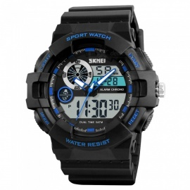 SKMEI-1312-Mens-Sports-Watch-Chronograph-50m-Waterproof-Luxury-Brand-Fashion-Wristwatch-with-Alarm-Dual-Time-Display-Blue