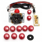 USB-DIY-Handle-Arcade-Kit-with-24mm-30mm-Buttons-5-Pin-Joystick-USB-Cable-Encoder-Card-Red