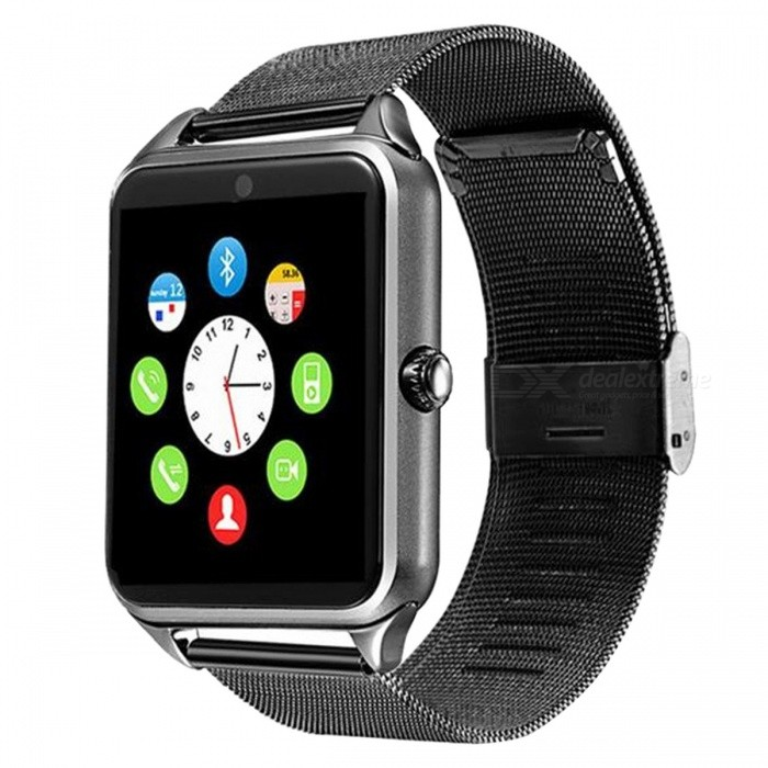 DMDG Bluetooth Smart Watch with Stainless Steel Strap, Camera, Sleep Monitor, Pedometer, Support SIM TF Card - BlackSmart Watches<br>Form  ColorBlackModelN/AQuantity1 DX.PCM.Model.AttributeModel.UnitMaterialStainless steelShade Of ColorBlackCPU ProcessorMTK6261DScreen Size1.54 DX.PCM.Model.AttributeModel.UnitScreen Resolution240 * 240Touch Screen TypeIPSNetwork Type2GCellularGSMSIM Card TypeMicro SIMBluetooth VersionBluetooth V3.0Compatible OSiOS, AndroidLanguageSimplified Chinese, EnglishWristband Length25 DX.PCM.Model.AttributeModel.UnitWater-proofNoBattery ModeReplacementBattery TypeLi-ion batteryBattery Capacity350 DX.PCM.Model.AttributeModel.UnitStandby Time5 DX.PCM.Model.AttributeModel.UnitPacking List1 x Smart Watch1 x USB Charging Cable1 x User Manual<br>