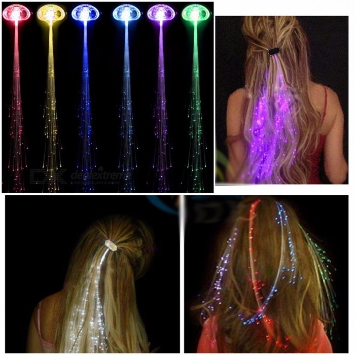 Buy Colorful LED Wigs Glowing Flash LED Hair Braid Clip Hairpin Decoration New Year Party Christmas 7 Color Changeable - 2PCS with Litecoins with Free Shipping on Gipsybee.com