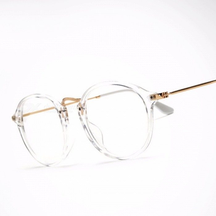 Classic Vintage Transparent Glasses Round Unisex Nerd Eyeglasses Frame Clear Glasses lunette de vue oculos de grau With Box Gold