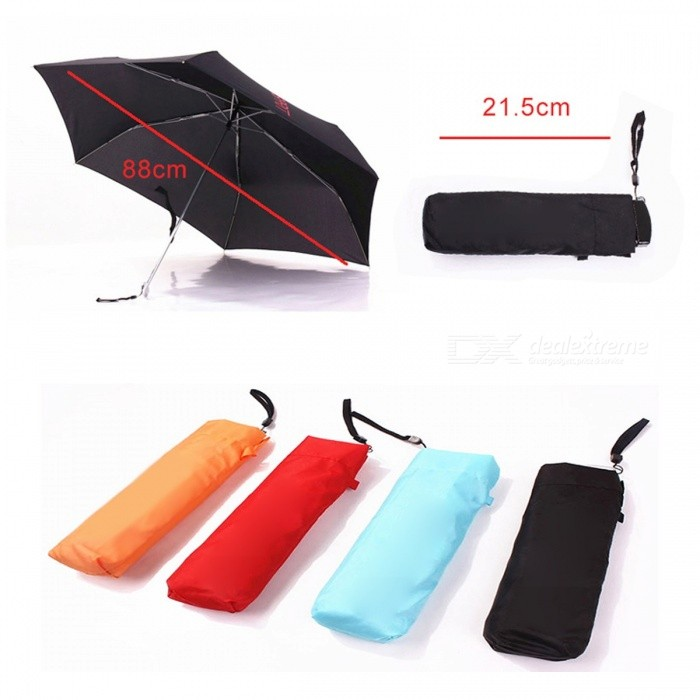 Unisex Stylish Mini Pocket Umbrella 165g Small Folding Umbrella Sun Rain Proof Tool for Women Men Children - Black