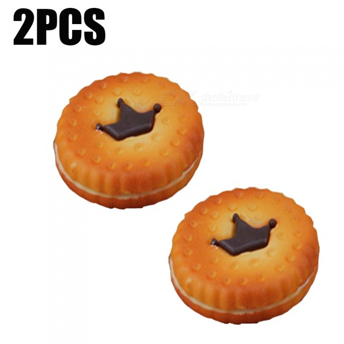 Buy Realistic Crown Cookie 2pc PU Foam Squishy Toy  -  ORANGE with Litecoins with Free Shipping on Gipsybee.com