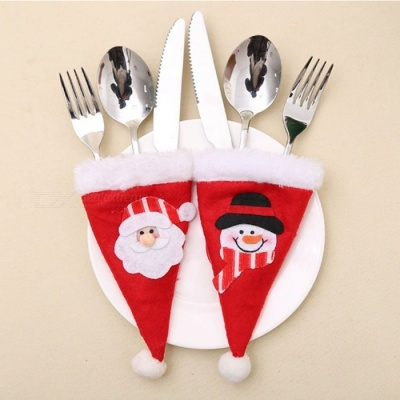 Old Man and Snowman Pattern Knife Fork Cap Hat Storage Bag for Christmas Decoration (2 PCS)