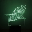 Shark Pattern 7-Color Changing USB 3D Illusion LED Nightlight
