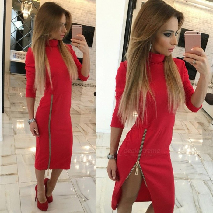 Stylish High Collar Slim Long Sleeves Zipper Sexy Split Dress for Women Ladies - Red (L)Dresses<br>Form  ColorRedSizeLQuantity1 pieceShade Of ColorRedMaterialPolyesterStyleFashionShoulder Width41 cmChest Girth96 cmWaist Girth80 cmSleeve Length56 cmHip Girth100 cmTotal Length114 cmSuitable for Height155-175 cmPacking List1 x Dress<br>