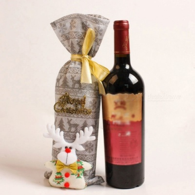 P-TOP 2Pcs Snowman Deer Pattern Red Wine Champagne Bottle Cover Set for Christmas Decoration