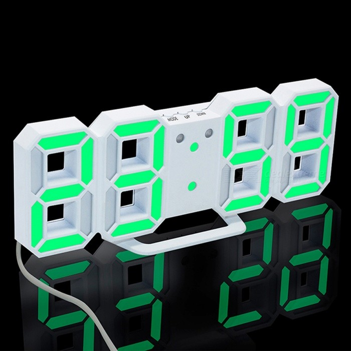 3D LED Digital Alarm Clock, Modern Wall Desk Table Clock w/ Snooze - Green Lightdesk clock<br>Form  ColorWhite (Green Light)ModelTS-S60-WMaterialPlasticQuantity1 setScreen TypeOthers,LEDBattery included or notYesPower SupplyOthers,3V AC AdapterPacking List1 x LED clock<br>