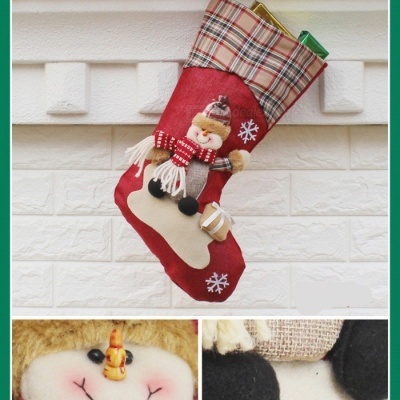 P-TOP Christmas Stocking Gift Bag, Kids Xmas Noel Decoration, Christmas Tree Ornament - Snowman Pattern