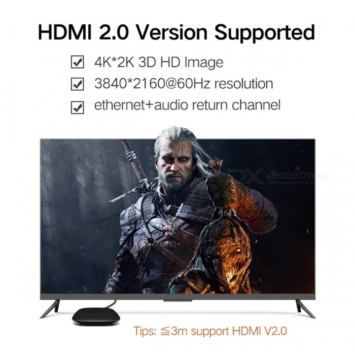 Ugreen Premium 3D 4K*2K HDMI 2.0 Male to Male High Speed Adapter, HDMI Cable for Apple TV PS3/4 Projector 2m/Black