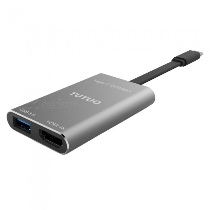 TUTUO V23 720P USB3.0 Type-C to HDMI Converter Cable - Grey