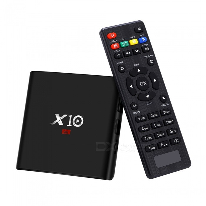 X10 Android 7.1 HD 4K Smart TV Box with 2GB RAM, 16GB ROMSmart TV Players<br>Form  ColorBlackBuilt-in Memory / RAM2GBStorage16GBPower AdapterEU PlugModelX10Quantity1 pieceMaterialABSShade Of ColorBlackOperating SystemOthers,Android 7.1ChipsetAmlogic S905WCPUOthers,Cortex-A53Processor Frequency2.0GHZGPUMali-450Menu LanguageEnglish,French,German,Italian,Spanish,Portuguese,Russian,Vietnamese,Polish,Greek,Danish,Dutch,Arabic,Japanese,Bahasa Indonesia,Thai,Malay,Czech,Greek,Chinese Simplified,Chinese TraditionalMax Extended Capacity64GBSupports Card TypeMicroSD (TF)Wi-Fi802.11 b/g/nBluetooth VersionNo3G FunctionNoWireless Keyboard/Mouse2.4GBAudio FormatsWMA,APE,FLAC,OGG,AC3,DTS,AACVideo FormatsAVI,MKV,MOV,M4V,AVC,FLV,VOB,MPG,DAT,MPEG,WMVAudio CodecsDTS,AC3,FLACVideo CodecsMPEG-1,MPEG-2,H.265Picture FormatsJPEG,BMP,PNG,GIF,TIFFSubtitle FormatsMicroDVD [.sub],SubRip [.srt],Sub Station Alpha [.ssa]Output Resolution1080PHDMI2.0USBUSB 2.0Power Supply5 V, 2APacking List1 x TV Box,1 x HDMI Cable, 1 x Remote Control, 1 x English User Manual, 1 x Power Adapter<br>