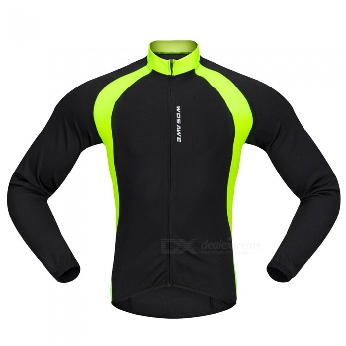 BC228 Sports Long-Sleeve Cycling Jersey - Black / Green