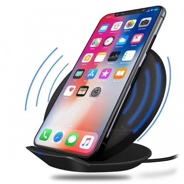 Cwxuan 10W Fast Wireless Charger Stand, Qi Charging Pad for Samsung / IPHONE 8 / IPHONE X - BlackWireless Chargers<br>Form  ColorBlackPower AdapterUSBModelA8Quantity1 setMaterialABSExecutive StandardQiShade Of ColorBlackTypeChargerCompatible ModelsMost SmartphonesTransmition Distance10mm max.Charging Efficiency75%Battery CapacityNO mAhInputDC 5V 2A or 9V 1.67AOutput interface, output current, output voltage5V/1A or 9V/1.2ALED IndicatorYesPacking List1 x Wireless Charger1 x USB Cable<br>