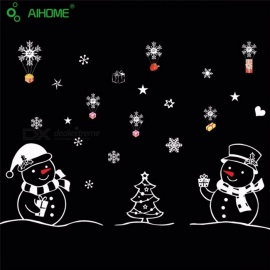 Christmas Festival Wall Sticker Snowman Showcase Stickers Merry Christmas Happy New Year DIY Glass Window Stickers Multi