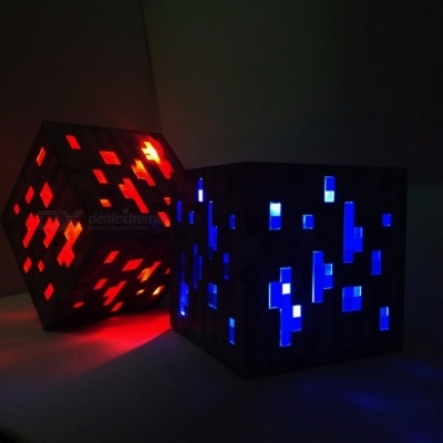 New Minecraft Light Up LED Toy, Redstone Diamond Ore Square Night Light LED Figure Toy for Kids Gifts Blue