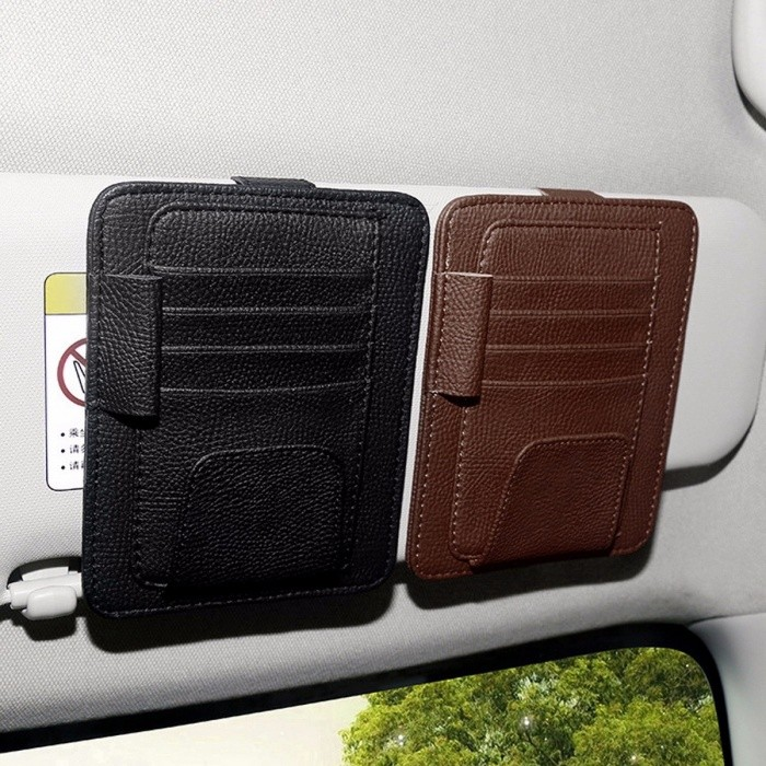 Universal Premium Multiuse Pen Card Ticket Glasses Leather Clip Holder with Multiple Slots for Car Roof Sun Visor Black