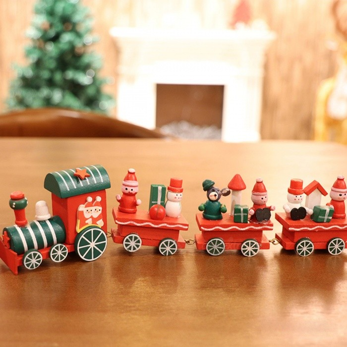 christmas train wooden natale decoration santa claus bear xmas kid toy gift navidad new year home ornaments red