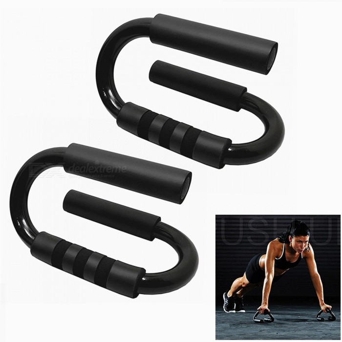 100KG S Shape Handle Push-up Bars for Muscle Training - Black (1 Pair)