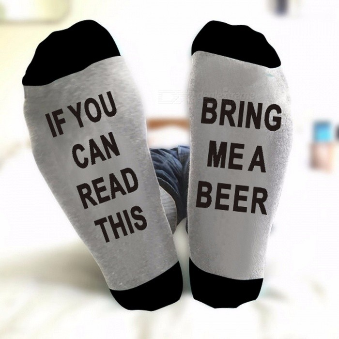 Buy East Knitting ST09 Unisex IF YOU CAN READ THIS BRING ME A BEER Fashion Socks Cotton Christmas Socks Funny Socks Gray + Black with Litecoins with Free Shipping on Gipsybee.com