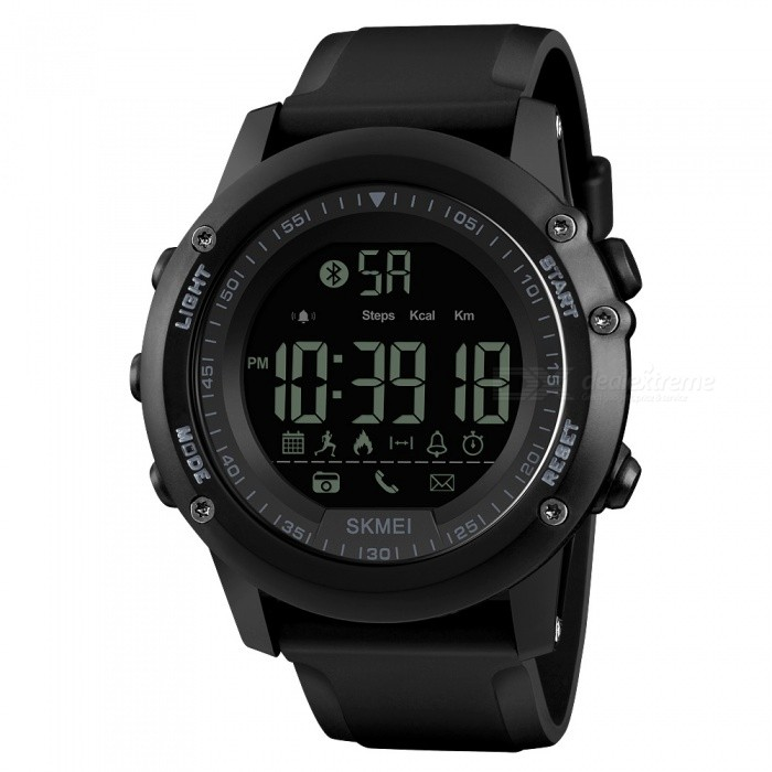 SKMEI 1321 Men's Bluetooth Smart Watch, Waterproof Digital Wristwatch with Pedometer, Remote Camera, Calorie Counter - Black for sale for the best price on Gipsybee.com.