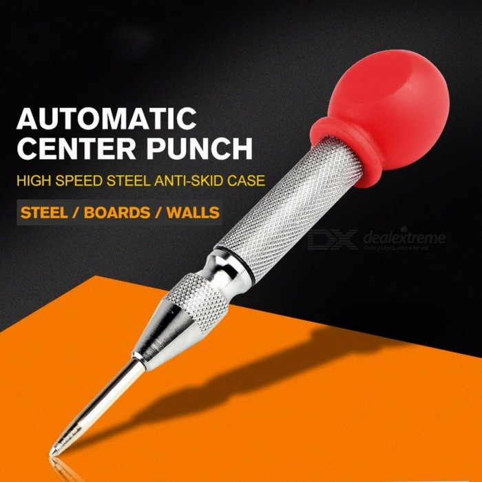 HSS Center Punch Stator, Automatic Center Pin Punch, Spring Loaded Marking Drilling Tool with a Protective Sleeve silver